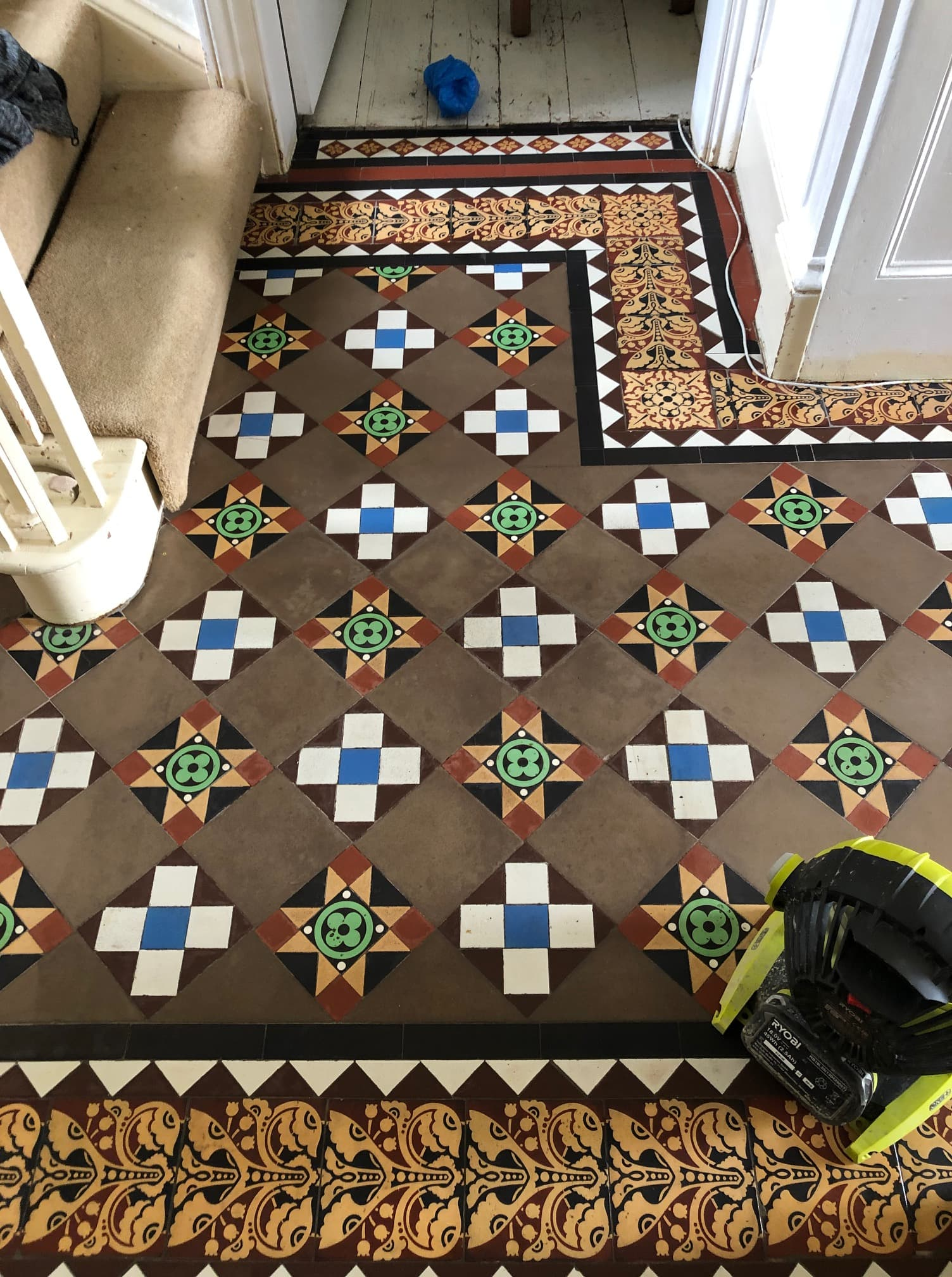 Geometric Victorian Tiled Hallway After Cleaning