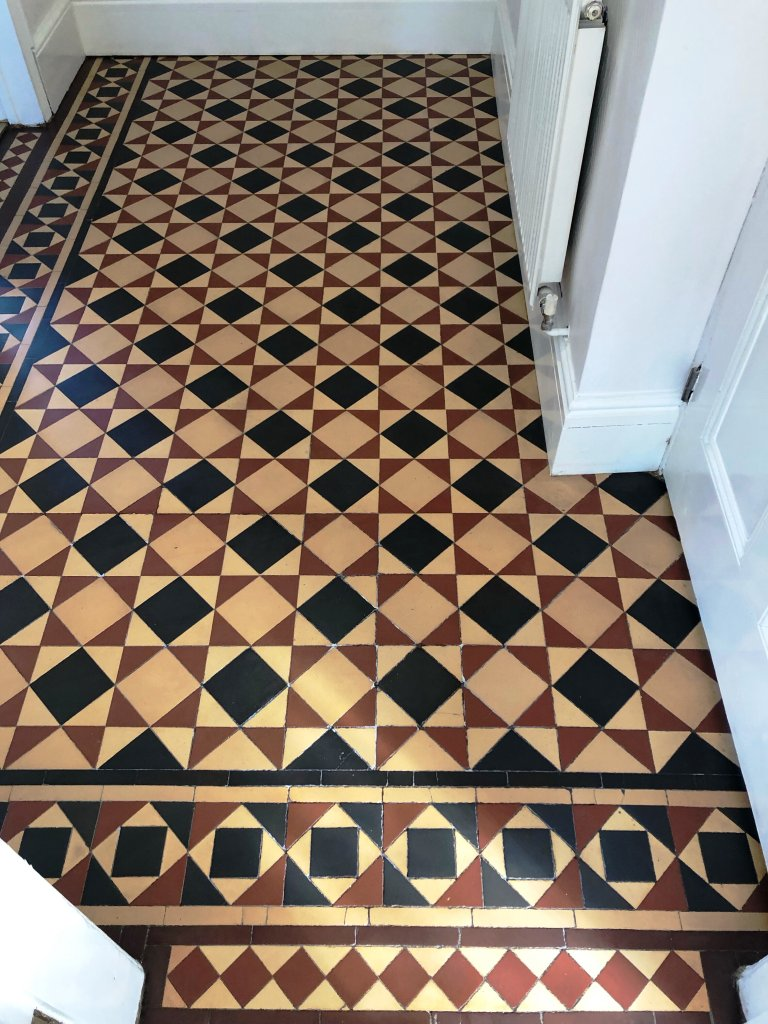 Victorian Tiled Hallway Floor After Repair and Renovation