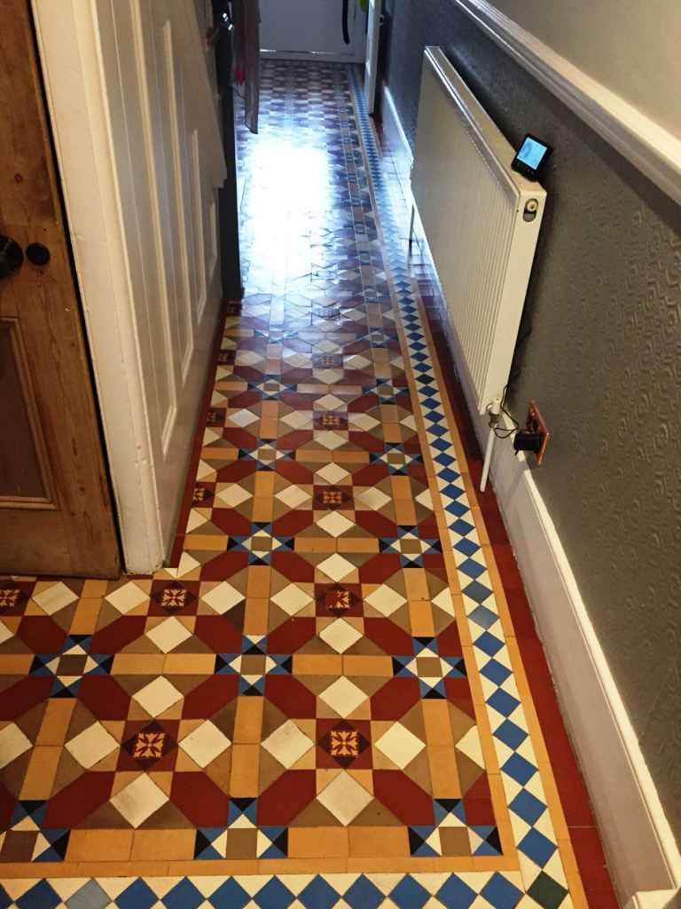 Victorian Hallway Floor Tile After Restoration