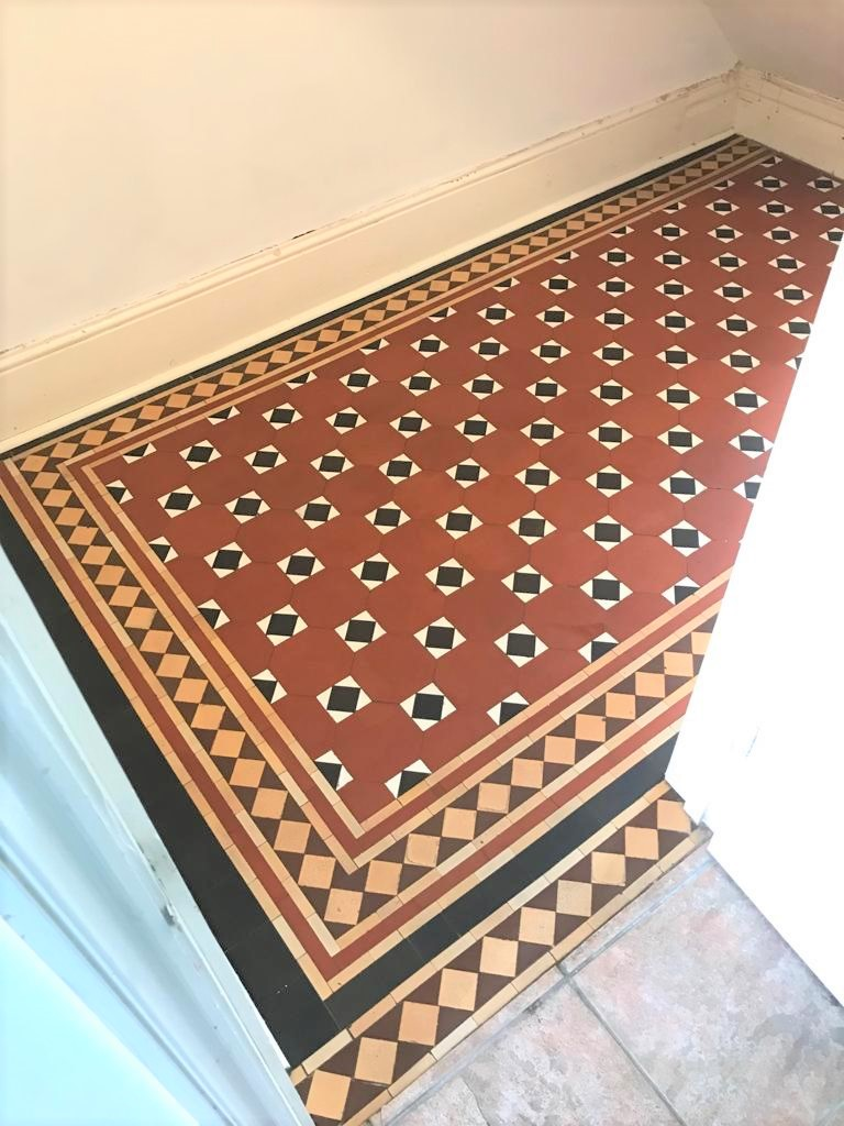 Victorian Tiled Hallway Floor After Cleaning