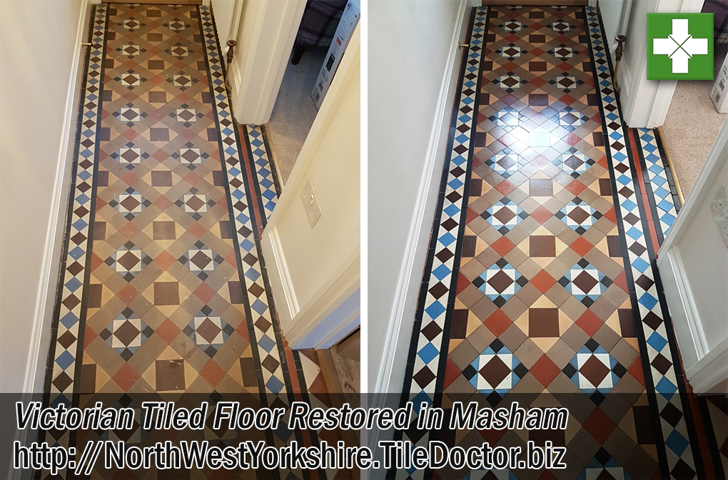 Victorian Tiled Hallway Floor Before After Restoration Masham
